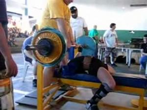 Benching with a broken leg at a local meet - 2007