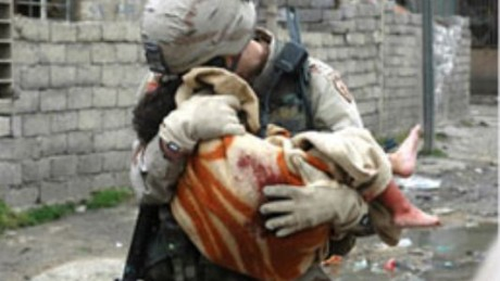 american soldier saving child