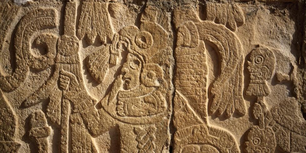 Figure in bird costume, detail, Temple of the Jaguars, Chichen Itza Mayan ruins, Yucatan, Mexico